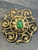 "Vintage Pin Brooch Gold Tone Green Glass Cabochon rhinestone 1"""