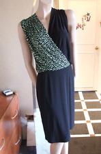 Joseph Ribkoff BNWT 10 Hermoso Negro Estiramiento Jersey Vestido Con Lunares Verde