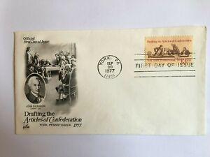 UNITED STATES USA 1977 FDC ART CRAFT ARTICLES OF CONFEDERATION JOHN DICKINSON