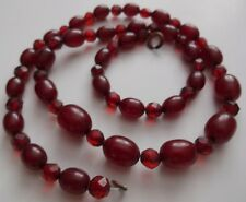 ANTIQUE VICTORIAN GENUINE BALTIC CHERRY AMBER Barrel Faceted BEADS NECKLACE 16g