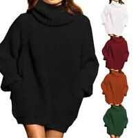 Womens Turtleneck Jumper Loose Sweater Tops Ladies Winter Baggy Knitted Pullover