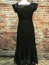 Nanette Lepore Black Lace Mid-length Dress With Cap Sleeves Size 0