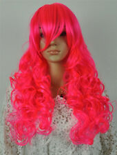 Hot Sell New Fashion Sexy Long Pink Curly Women Lady Cosplay Hair Wig Wigs + Cap