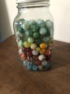 Vintage Jar Of Marbles