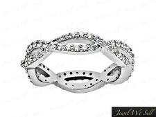 1.60Ct Diamond Intertwined Eternity Wedding Band Ring 10k White Gold I SI2 Prong