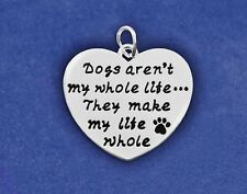 Dog Charm Pendant Jewelry Sterling Silver Plt Dogs Aren't My Whole Life Pawprint