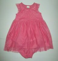 TODDLER GIRLS HANNA ANDERSSON CORAL PINK & GOLD STAR TULLE DRESS SET SIZE 2 3
