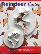 PME Reindeer Sugarcraft Cutters  2 Christmas cake cupcake NEXT DAY DESPATCH