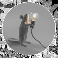 Seletti Mouse Lamp Standing White- Upright Animal Rat Table Light LED Bulb Mice