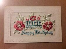 SILK :EMBROIDERED POSTCARD  Happy Birthday