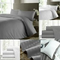 Stripe Duvet Cover Extra Deep Fitted Sheet 40cm Deep 600TC Double King Size Bed
