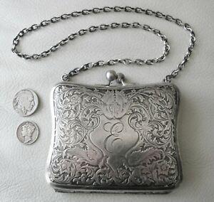 Antique Art Nouveau Floral Leaf  Silver Metal Compact Card Case Clam Purse E