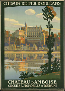 Chateau D' Amboise France French LARGE METAL TIN SIGN POSTER WALL PLAQUE RETRO