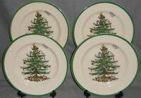 "Set (4) Spode CHRISTMAS TREE PATTERN Green Trim 10"" DINNER PLATES China"
