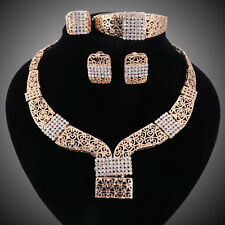Women 18k Gold Plated Crystal Necklace Earrings Bangle Ring Wedding Jewelry Sets