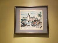 """Paris Watercolor by Arno Mid Century """"Paris: la Conciergerie et la Siene"""" 1960's"""