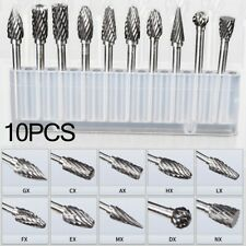 1set 10pcs Tungsten Steel Carbide Burrs Die Grinder Power Drill Bits Rotary Tool