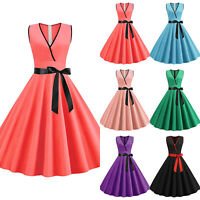 Womens V-Neck 1950s 60s Vintage Rockabilly Style Retro Evening Prom Swing Dress