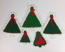 Lot Of 5 Handmade Crochet Christmas Tree Fridge Magnet Decorations