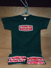 Rolling Rock Beer Green Tee T Shirt Short Sleeve ~ Large ~  NEW & Free Shipping