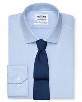T.M.Lewin Mens Non-Iron Slim Fit Blue Dobby Weave Shirt - Button Cuff 20