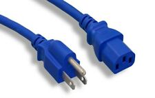 Blue 6FT Universal 3 Prong AC Power Cord Cable 18AWG Computer Printer Monitor TV