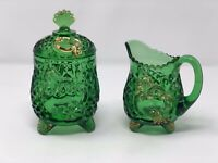 1898 Riverside Glass Croesus Sugar Bowl W/ Lid Creamer Emerald Green See Descrpt