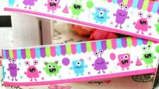 "7/8"" 2 YARDS Cute Monster Grosgrain Ribbon Pink - Hair Bow Crafts Cards Scrapbks"