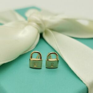Tiffany & Co. 18k Rose Gold Mini Padlock Love Stud Earrings NO BACK Pouch & Box