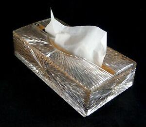 Celebrity Lucite Facial Tissue Dispenser Cut Glass Style w/Promotional Box 1960s