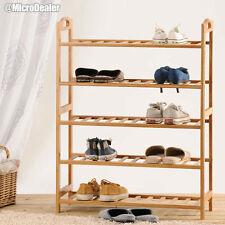 5 level Natural Bamboo Wooden Shoe Rack Storage Organizer Shoe Shelves Shoe Rack