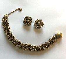 Vintage Bracelet & clip on earring set- gold color- safety chain- pretty design