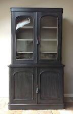 Antique Victorian Glazed Bookcase Cupboard Dresser Display Cabinet Painted Black