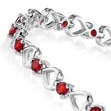 925 Sterling Silver Red Ruby Heart Cubic Zirconia Tennis Bracelet Cz Love