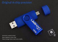 Blue 8GB USB 2.0 and micro usb Flash Pen Drive Memory Stick Rotary Thumb Key