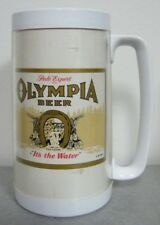 Vintage OLYMPIA BEER THERMO-SERV PLASTIC MUG LIGHTLY USED NICE!