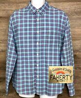 FAHERTY Men's Blue Cotton Plaid Long Sleeve Button Front Modern Shirt Large