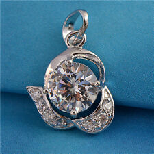 Lovely 9K White Gold Filled Flawless CZ Womens Pendants Fit Chain Necklace