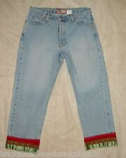 OLD NAVY BUTTON-FLY CROPPED DENIM W/ORIENTAL-STYLE CUFFS, SZ. 8, SUPER CUTE!