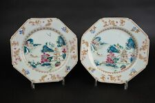 Amazing pair of 18th C Chinese export porcelain famille rose landscape plates