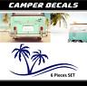 Camper sticker palm decals trees motorhome RV  malibu beach sunlight challenger