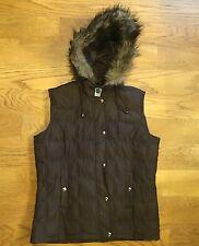 GAP Brown Puffer Vest Removable Hood Faux Fur Trim Womens Sz. M Medium Down Fill