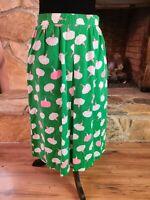 Vintage SANIBEL Sport Skirt Long Modest  Pink Green Pockets Pleat Zips Sz.12 Hip