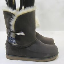 new Gray Winter  Flat Ankle Boot Fur Inside/Button Size 10