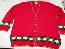 Vintage Ugly Christmas Cardigan Sweater Project Women Size XL Red Holiday USA