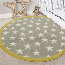 Kids Yellow Ochre Grey Circle Stars Rugs Boy Girls Soft Baby Nursery Bedroom Mat