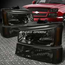 FOR 03-06 SILVERADO/AVALANCHE SMOKED AMBER REFLECTOR HEADLIGHTS+BUMPER HEAD LAMP