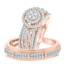 18K Rose Gold Over Diamond His And Her Wedding Bridal Band Trio Ring Set 2.55 Ct