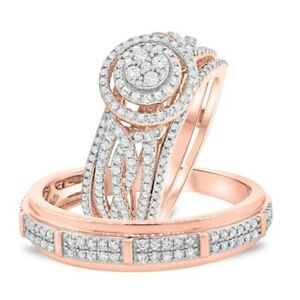 10k Rose Gold Over Diamond His And Her Wedding Bridal Band Trio Ring Set 2.50 Ct