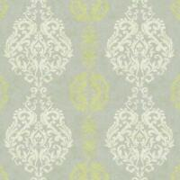 Wallpaper Contemporary Damask Stripe Grey Kiwi Green on Silver Gray Background